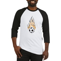 Soccer Ball & Flame Baseball Jersey