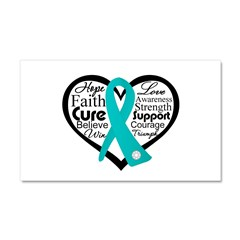 Heart Ovarian Cancer Car Magnet 20 x 12