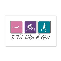 Tri Like A Girl Triathlete Car Magnet 20 x 12