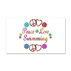 Peace Love Swimming Car Magnet 20 x 12