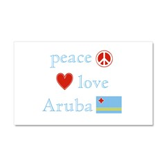 Peace, Love and Aruba Car Magnet 20 x 12
