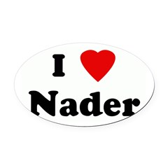 I Love Nader Oval Car Magnet