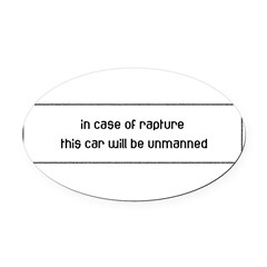 In Case of Rapture Oval Car Magnet