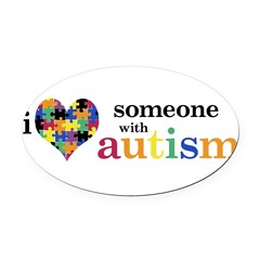 I HEART Someone with Autism - Oval Car Magnet