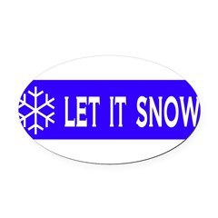 Think Snow Oval Car Magnet