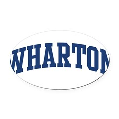 WHARTON design (blue) Oval Car Magnet