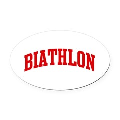 Biathlon (red curve) Oval Car Magnet