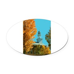 Vermont Country Church Oval Car Magnet
