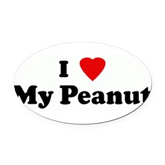 I Love My Peanut Oval Car Magnet