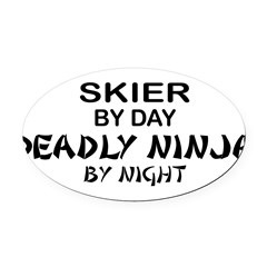 Skier Deadly Ninja Oval Car Magnet