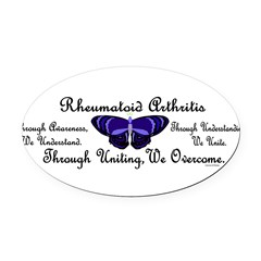 Butterfly Awareness 1 (Rheumatoid Arthritis) Oval Car Magnet