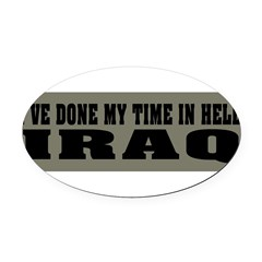 Iraq-Hell Oval Car Magnet