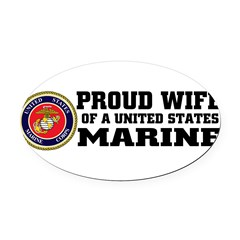 Marine Proud Wife Oval Car Magnet