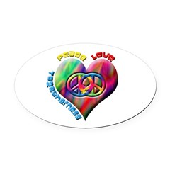 Peace Love Togetherness Oval Car Magnet
