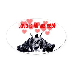schnauzer love Oval Car Magnet