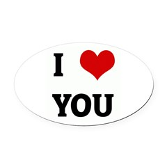 I Love YOU Oval Car Magnet