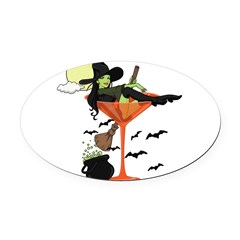 Halloween Martini Girl Oval Car Magnet