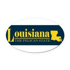 Louisiana Gold Oval Car Magnet