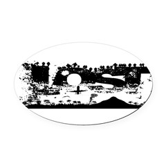 Lost Island White Oval Car Magnet
