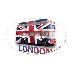 London Bus with Union Jack an Oval Car Magnet
