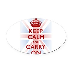 Keep Calm and Carry On Oval Car Magnet