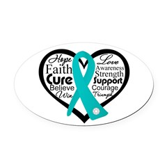Heart Ovarian Cancer Oval Car Magnet