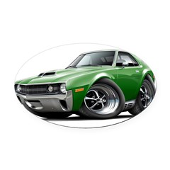1970 AMX Green Car Oval Car Magnet