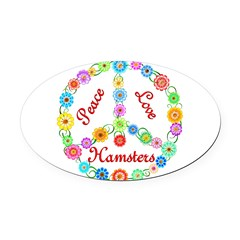 Peace Love Hamsters Oval Car Magnet