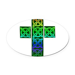 Glowing Celtic Cross Oval Car Magnet