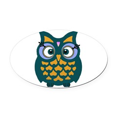 Retro Owl Oval Car Magnet