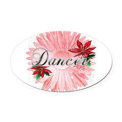 Dancer Pink Snow Flower Oval Car Magnet