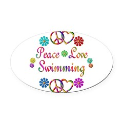 Peace Love Swimming Oval Car Magnet
