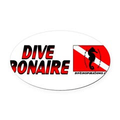 Dive Bonaire (red) Oval Car Magnet