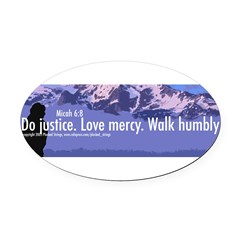 Micah 6:8 Oval Car Magnet