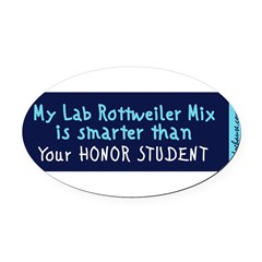 Lab Rottweiler Mix Oval Car Magnet