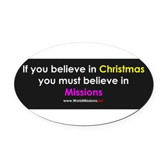 Christmas & Mission Oval Car Magnet