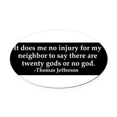 Jefferson religious tolerence Oval Car Magnet