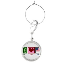 Peace Love America Round Wine Charm