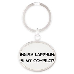 Co-pilot: Finnish Lapphund Oval Keychain