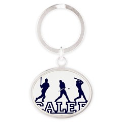 Baseball Caleb Personalized Oval Keychain