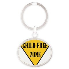 Child-Free Zone Oval Keychain