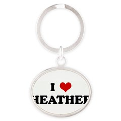 I Love HEATHER Oval Keychain
