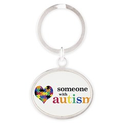 I HEART Someone with Autism - Oval Keychain