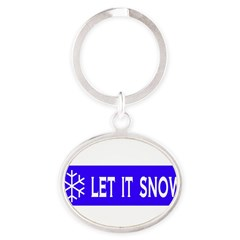 Think Snow Oval Keychain