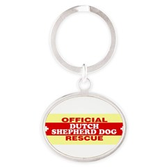 DUTCH SHEPHERD DOG Oval Keychain