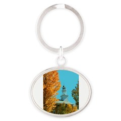 Vermont Country Church Oval Keychain
