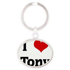 I Love Tony Oval Keychain