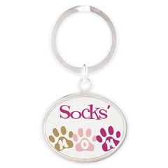 Socks's Mom Oval Keychain