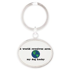 World Revolves Around Lucky Oval Keychain