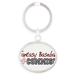 Fantasy Baseball Commish Oval Keychain